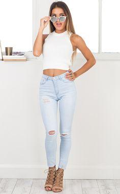 Showpo Ashley skinny jeans in light wash denim - 12 (L) Jeans