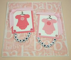 Twin Baby Card for Girls Personalized Pink by CarasScrapNStampArt, $5.00