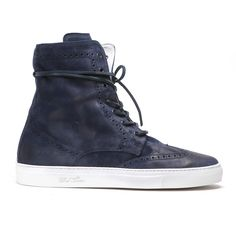 Men's Navy Distressed Suede Molto Alto Sneaker Boot