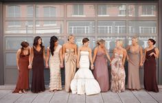 Mix and match bridesmaid dresses.