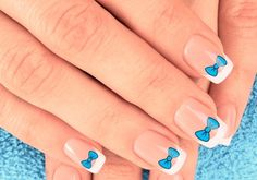 26 Adorable Bow Nail Art Designs and step-by-step tutorial: Acrylic Nails Blue Bows Nail Art Design