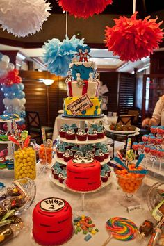 Dessert table for Thing 1 and Thing 2 Baby Shower