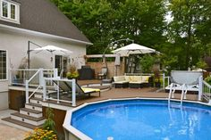 Swimming pool deep embossed decks are becoming more specialized with a stronger emphasis on aesthetics, transforming the pool and backyard area into a mini resort with lighting.If you need,click the website and buy it. Landscaping Around Deck, Above Ground Pool Landscaping, Above Ground Pool Decks, Backyard Pool Landscaping, Above Ground Swimming Pools, In Ground Pools, Pool Fence, Backyard Ideas, Patio Plus