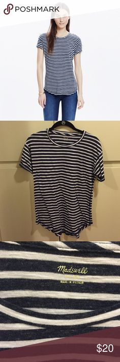 Madewell Whisper Cotton T Shirt in Morelia Stripe Worn a handful of times, great condition! Madewell Tops Tees - Short Sleeve