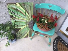 Hand Painted Pallet Wood Sign. Repurposed Chair into a pot holder. Welcome Sign. Porch Decor. Porch Sign. Welcome. Flower Pot.  This Green Flower Welcome Sign was my very first Welcome Sign ever made! This Sign was never meant to be for Sale, but it was a blessing in disguise! This Sign helped me sell over 200 different Welcome Flower Signs, and each Sign made me better with time. ❤️  These Signs are Available For Sale on Both Our Etsy Page and Our Facebook Page! #Inspire