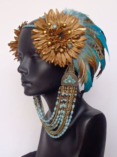 Brown Gold & Blue Feather Headpiece Headdress by MissGDesignsShop, $200.00