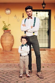 Father & Son Matching Outfits with a suspender bowtie and great hair! — Men's Fashion Blog - #TheUnstitchd