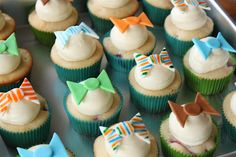 Bow Tie Cupcake Toppers. Use paper bow tie shaped die cuts glued to toothpicks (double-sided).