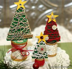 -*+Hi, Connie here a cute way to create some small Christmas trees using the Divine Twine by Whisker Graphics. Every year I create some sort of a small Christmas tree and these will look great in my collection.                       Supplies needed: Divine Twine by Whisker …