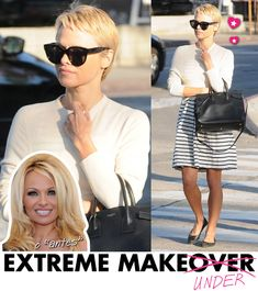Pamela Anderson, cabelo curto, pixie, hair cut, estilo Bolsa, bag, Saint Laurent, sac de Jour, Makeover, makeunder, transformação
