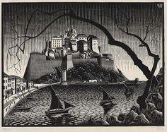 """""""La citadelle de Calvi, Corse"""", M.C. Escher, octobre 1928  © Cordon Art B.V., Baarn (Pays-Bas).  gravure sur bois sur papier japon Don de George Escher, Mahone Bay (Nouvelle-Écosse), 1987 Musée des beaux-arts du Canada"""