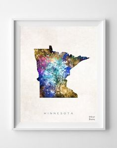 Minnesota Map Poster Painting Watercolor Saint by InkistPrints, $11.95 - Shipping Worldwide! [Click Photo for Details]