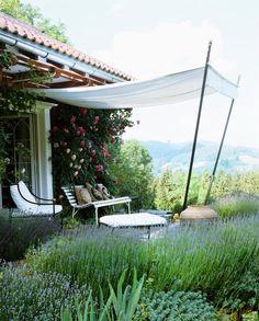 patio garden needs an awning canopy Outdoor Patio Umbrellas, Outdoor Curtains, Outdoor Rooms, Outdoor Gardens, Outdoor Living, Outdoor Decor, Ponds Backyard, Backyard Landscaping, Tent Design