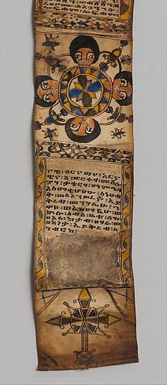 Healing Scroll. 18th–19th century.Ethiopia, Tigray region. In Ethiopia customized protective scrolls that interweave sacred imagery with textual prayers have been prescribed by traditional healers for over two thousand years. These were carried on the person of the individual to whom they were specifically dedicated to shield them from harm.Often the customized content of a scroll is astrologically determined.