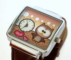 Brown Owl in Love  hand made watch with Brown leather by NaniWatch, $42.00