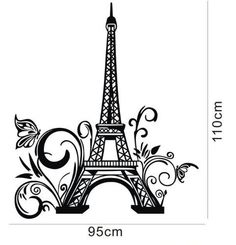 Tall Eiffel Tower Wall Decal Huge Paris City Sticker Decor Wall Sayings Decal Vinyl Wall Art Words Lettering Quotes Mural Art Room Home- Size X Wall Decal Sticker, Vinyl Wall Decals, Eiffel Tower Wall Decal, Removable Wall Stickers, Paris Theme, Vintage Paris, Living Room Art, Mural Art, Black Decor