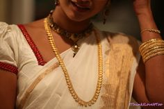 Diwali – Festival of Lights Hindu Festival Of Lights, Hindu Festivals, Kerala Saree, Indian Sarees, Kasavu Saree, White Saree, Gold Ornaments, Touch Of Gold, Indian Jewelry