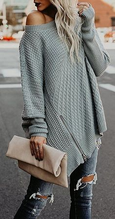 #fall #outfits  women's knitted off-shoulder long sleeve half0=ip top
