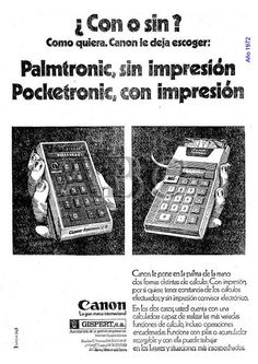 Palmtronic y Pocketronic de Canon. Gispert. Año 1972.