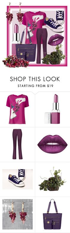 """""""Have a grape day!"""" by dmg555 ❤ liked on Polyvore featuring P.A.R.O.S.H., Clinique, Etro, Lime Crime, Nearly Natural, Kate Wood Jewellery and Baggallini"""