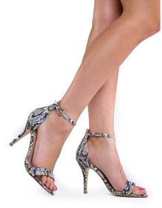 Sexy Stiletto High Heel Ankle Strap Sandal Snake Multi Color Women's Trendy Shoe - The Accessory Nook  - 1