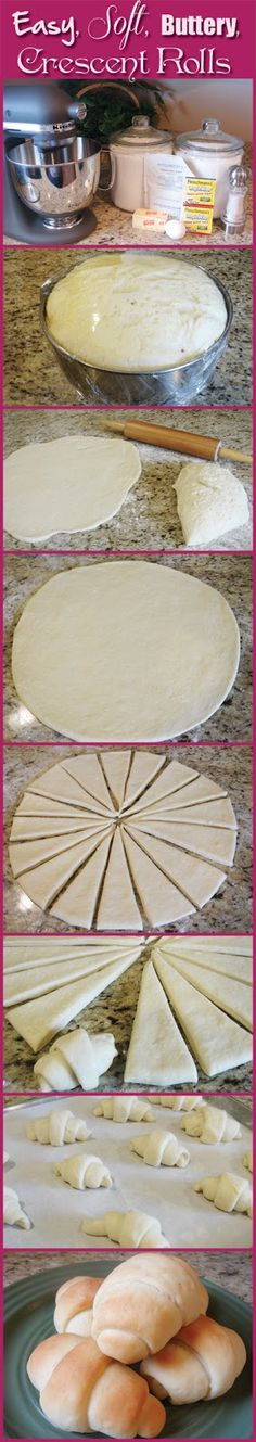 "Easy, Soft, Buttery, Crescent Rolls ""No more processed Pillsbury! Best Crescent Rolls Ever Recipe ~ absolute BEST. Not only is the recipe easy, but they come out so soft and buttery and they just melt in your mouth"" Do It Yourself Food, Crescent Roll Recipes, Cresent Roll Dough Recipe, Crescent Roll Dough, Bagels, Bread Baking, Yeast Bread, I Love Food, Baking Recipes"