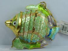 1PCS GREEN CHINESE HANDMADE CLOISONNE ENAMEL GOLD FISH CHRISTMAS ORNAMENT