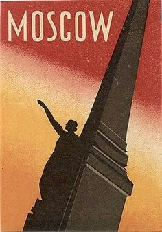 """""""Moscow"""", (1930), 'Ussr """"Intourist"""" Travel Brochure': [Travel and Tourist Soviet Propaganda by Stalin's """"Intourist"""" 'Travel Government Agency, founded from J.Stalin in 1928], Artist Unknown - Vintage Travel Propaganda Luggage Label."""