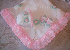 Crochet Baby Girl Blanket Layette With Satin and Lace Ruffle, Bonnet and Booties for Baby Shower Gift Take Me Home. $125.00, via Etsy.