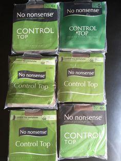 No Nonsense Control Top Pantyhose Queen 2 Q2 Tan New Package Six Pair Made USA #Nononsense #Pantyhose