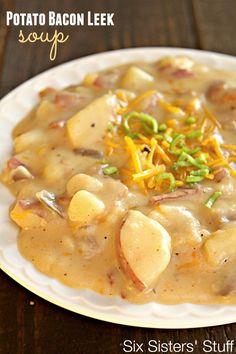 Potato Bacon Leek Soup Recipe from SixSistersStuff.com