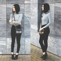 Holynights Claudia - Sheinside Turtle Neck Ribber Sweater, Little Mistress Ankle Boots - M o n o c h r o m e