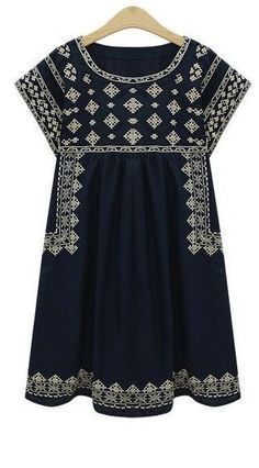 Stitch fix spring fashion trends 2016 Navy embroidered shift dress but preferred with white leggings underneath or jeans Looks Style, Style Me, Estilo India, Boho Fashion, Fashion Outfits, Spring Fashion, Fashion Trends, Fashion Women, Fashion Check