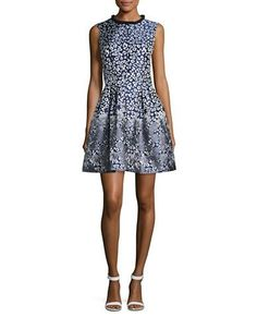 Belle By Badgley Mischka Printed Fit-and-Flare Dress Women's Navy Mult