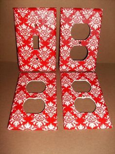 Red and White Damask Single Light Switch Plate Cover Set