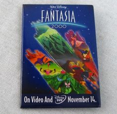 "Fantasia 2000 Button Pin Video Store Pinback 2x3"" Promo Badge Walt Disney"