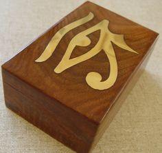 HORUS TIMBER BOX -  INLAYED BRASS  - TAROT BOX Wicca Witch Pagan Egyptian Goth A