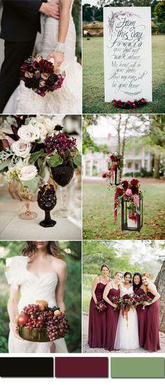 black and marsala fall wedding ideas