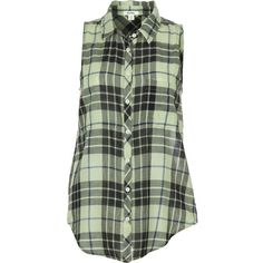 Dylan Outpost Plaid Slit Back Shirt - Sleeveless (1,830 DOP) ❤ liked on Polyvore featuring tops, sleeveless tops, shirts & tops, tartan top, no sleeve shirts and plaid top