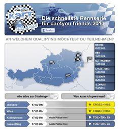 car4you (Österreich) GmbH || Konzept, Design, Programmierung, Abwicklung, Facebook Kampagne -  Kart Challenge 2013 Challenge, Apps, Facebook, Design, Concept, Cards, App, Design Comics