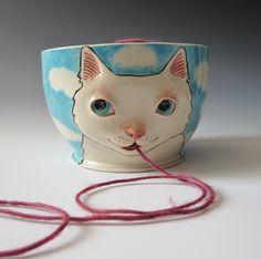 White Cat Yarn Bowl - sculpted kitty against blue sky, via Etsy.