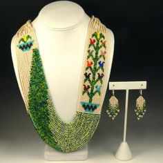 Beaded Necklace and Earrings Set by Rena Charles - Garland's Indian Jewelry