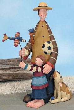 Father and Son Flying a Plane Figurine – Everyday Folk Art Figurines & Collectibles – Williraye Studio - $25.00