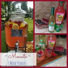 Mother's day ~Moscato Wine Punch~ Mommy Juice When I think of Mother's Day I think of relaxing and spending time treating mom special on her day. Lots of yummy food and adult beverages would also be nice ;) how about some mommy juice a. Alcohol Drink Recipes, Punch Recipes, Sangria Recipes, Cocktail Recipes, Liquor Drinks, Beverages, Fruity Liquor, Cocktail, Ideas Party