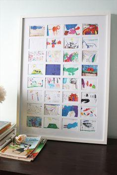 The best way to display kids art - diy kid's art collage. The best way to display kids art - diy kid's art collage. Displaying Kids Artwork, Artwork Display, Diy Artwork, Kids Decor, Decor Ideas, Custom Framing, Diy For Kids, Kids Fun, Collage Art
