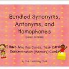 This Synonyms, Antonyms, and Homophones Bundle contains the 3 color individual products plus a cover set.  There are 136 PowerPoint slides and each...