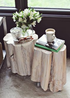DIY Wheelie Stump Tables- for my repurposed Nylo tables. @Adrienne Alexis Maybe I can pay your Mister to assemble?!