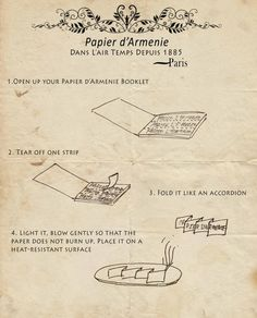 Instructions for Use   Tear off one strip, fold it like an accordion and place it on its longest thinnest side on a heat-resistant surface. Light it, blow gently so that the paper does not burn up (Papier d'Armenie should