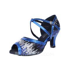 Women's Latin Heels Sandals Leatherette Ankle Strap Dance Shoes