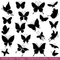 Butterfly Silhouettes Clipart Clip Art Butterfly Clipart Clip Etsy Butterfly clip art Silhouette clip art Silhouette art